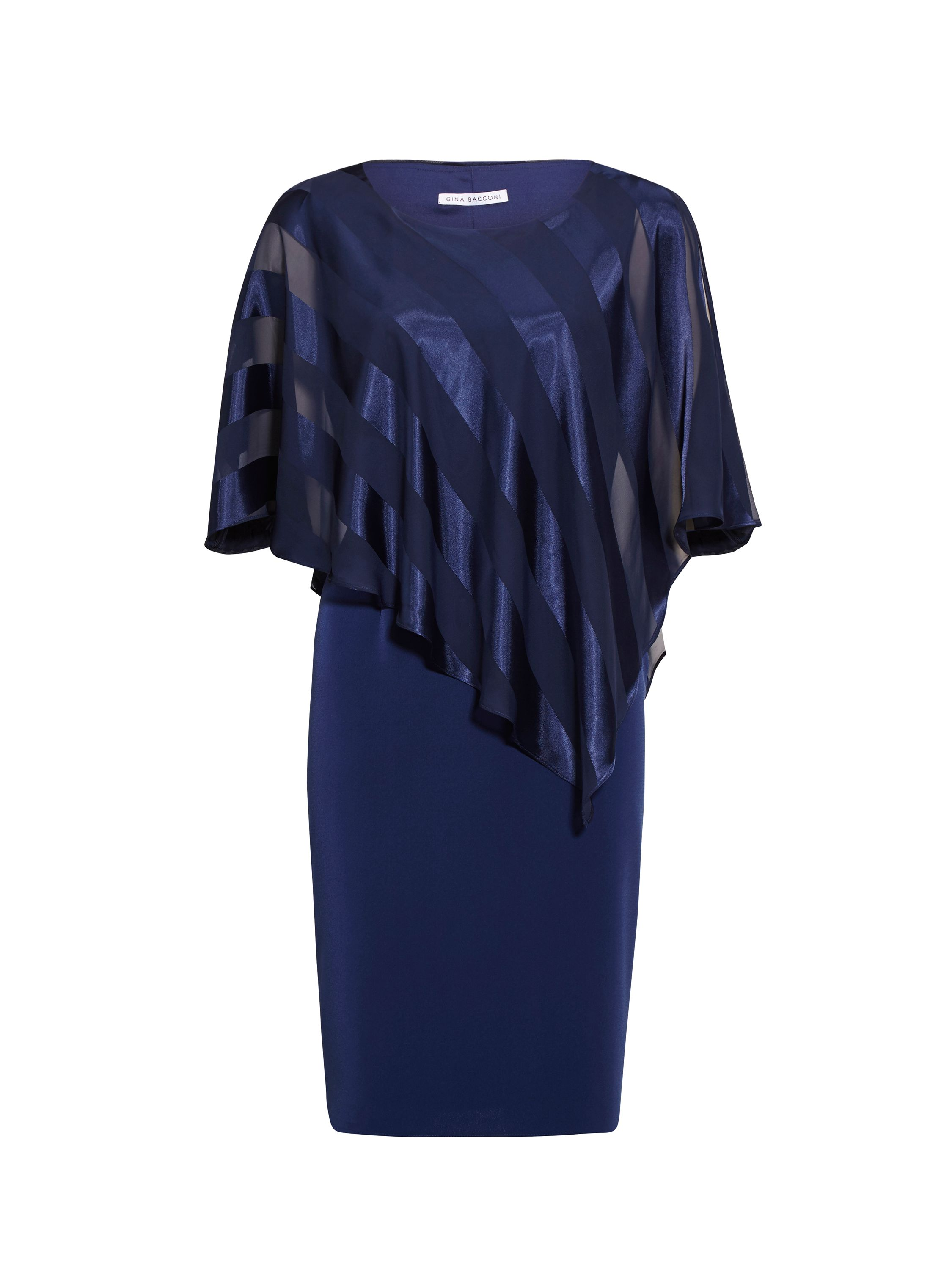 Gina Bacconi Soho Crepe Dress And Stripe Cape, Blue