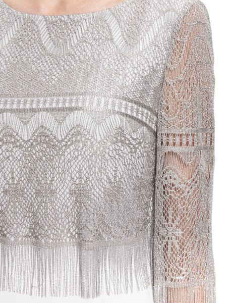 Gina Bacconi Metallic vintage fringe bodice dress