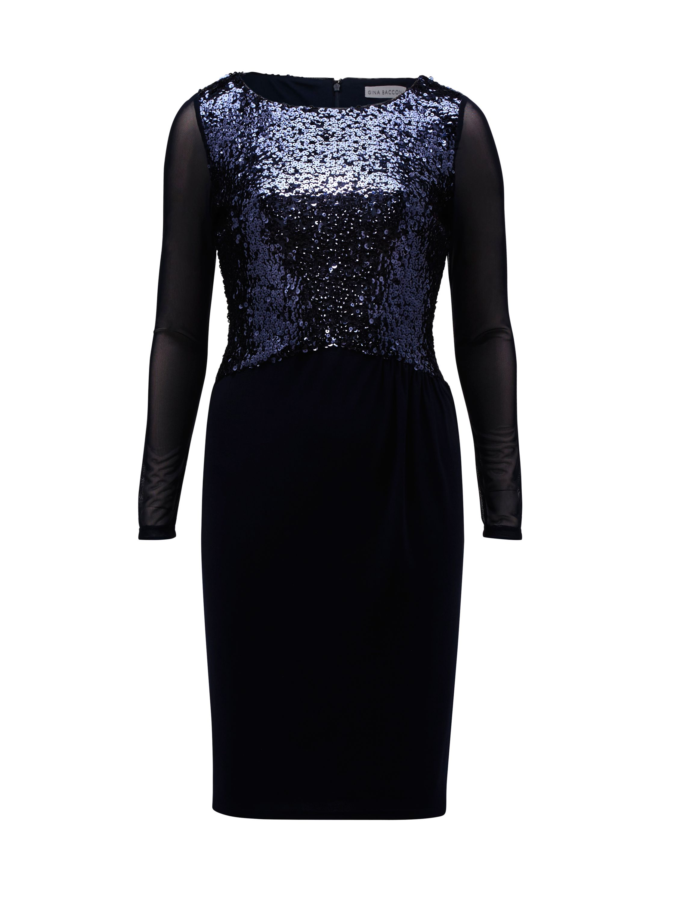 Gina Bacconi Jersey Dress With Sequin Bodice, Blue