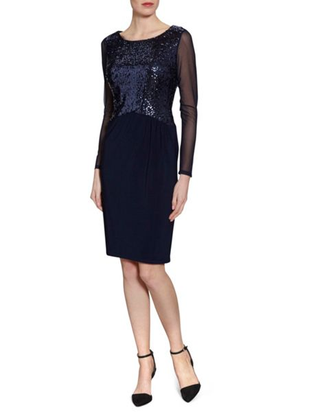 Gina Bacconi Jersey Dress With Sequin Bodice
