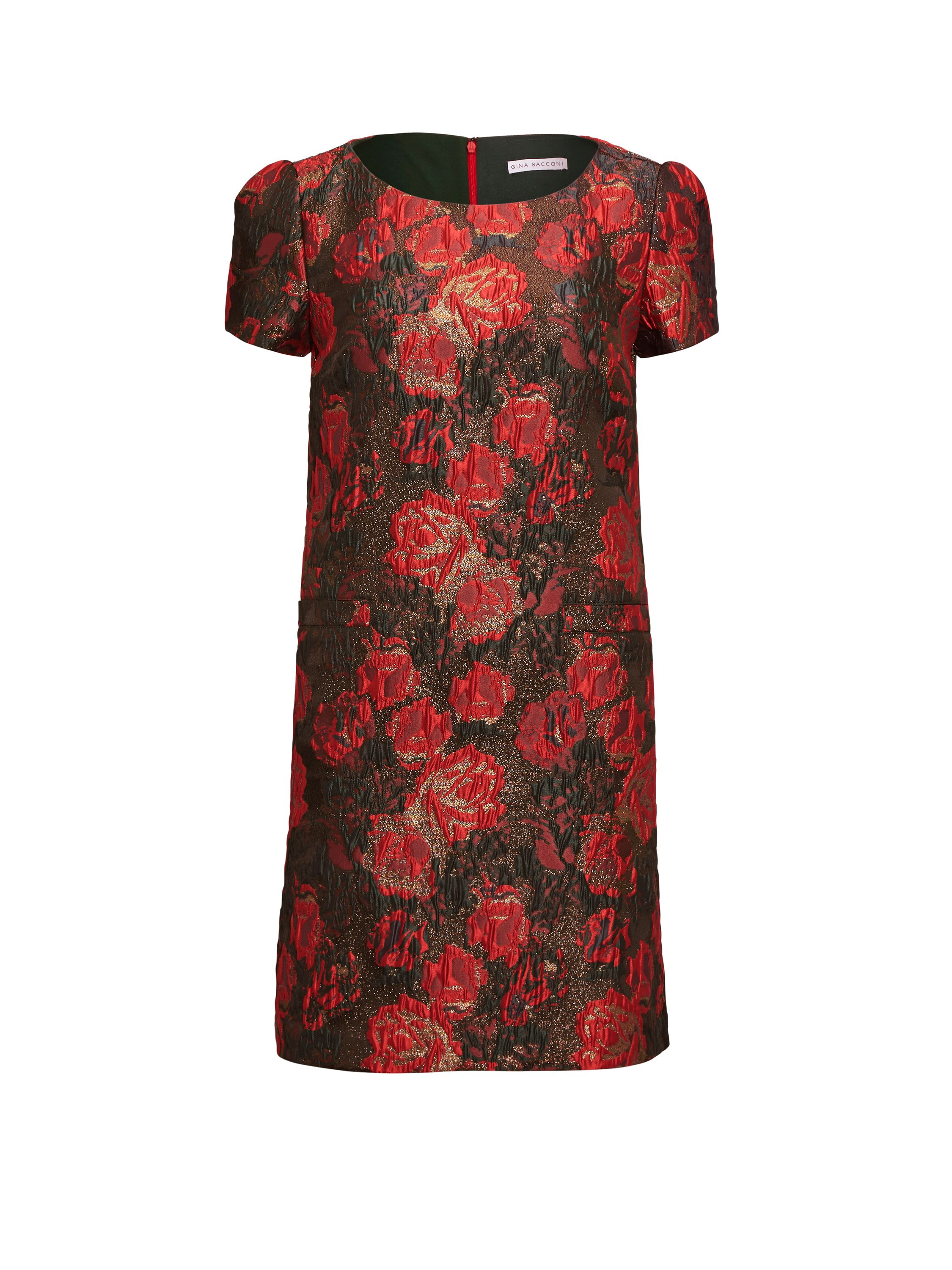 Gina Bacconi Matelasse Metallic Jacquard Dress, Red