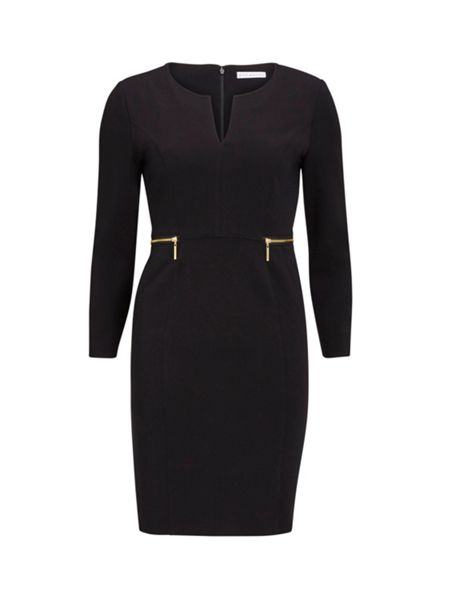 Gina Bacconi Dior Crepe Knit Dress With Zip Trims