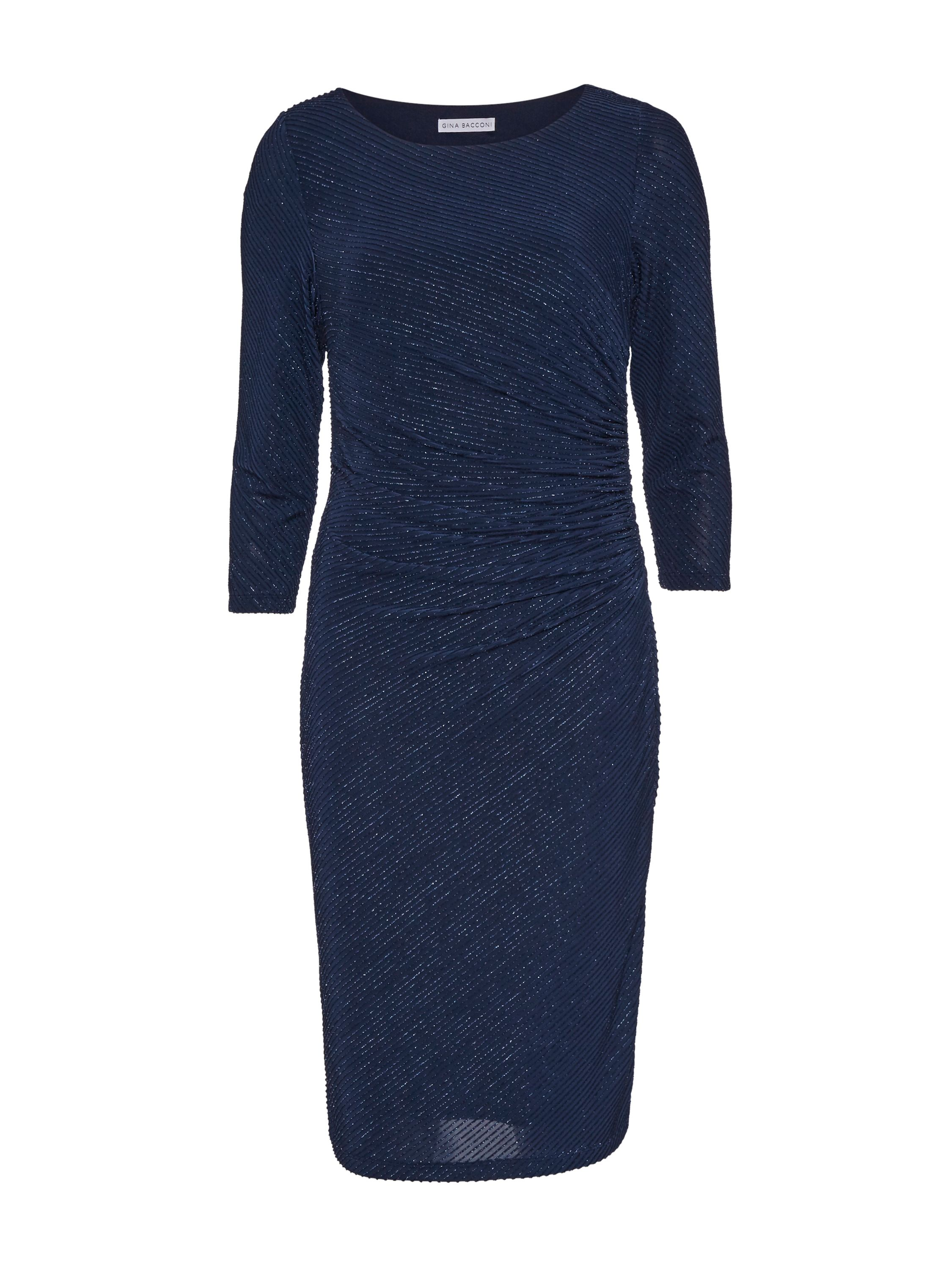 Gina Bacconi 3D Metallic Stripe Knit Dress, Blue