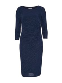 Gina Bacconi 3D Metallic Stripe Knit Dress