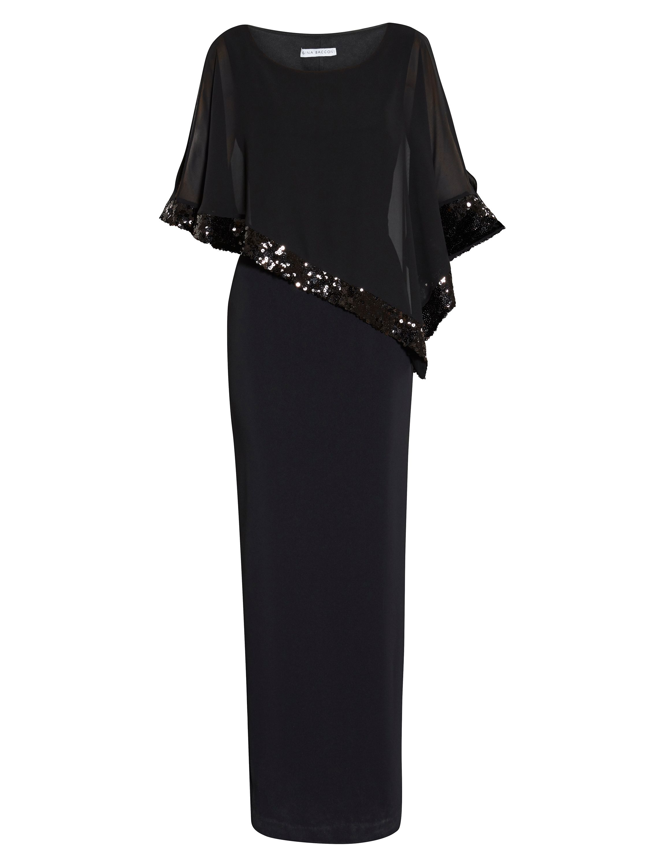 Gina Bacconi Crepe Maxi Dress With Sequin Band Cape, Black