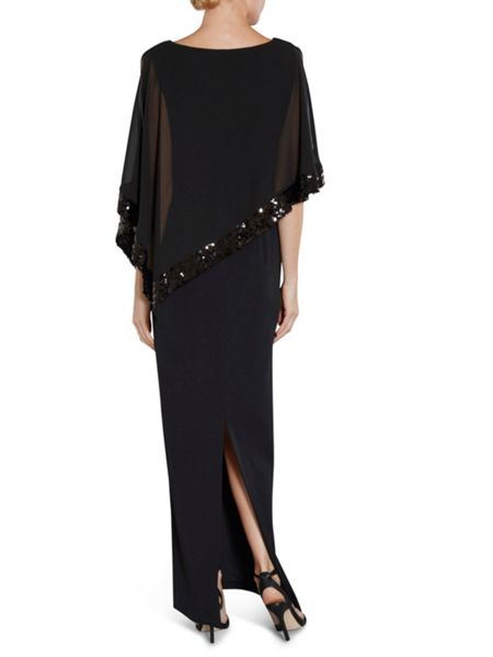 Gina Bacconi Crepe Maxi Dress With Sequin Band Cape