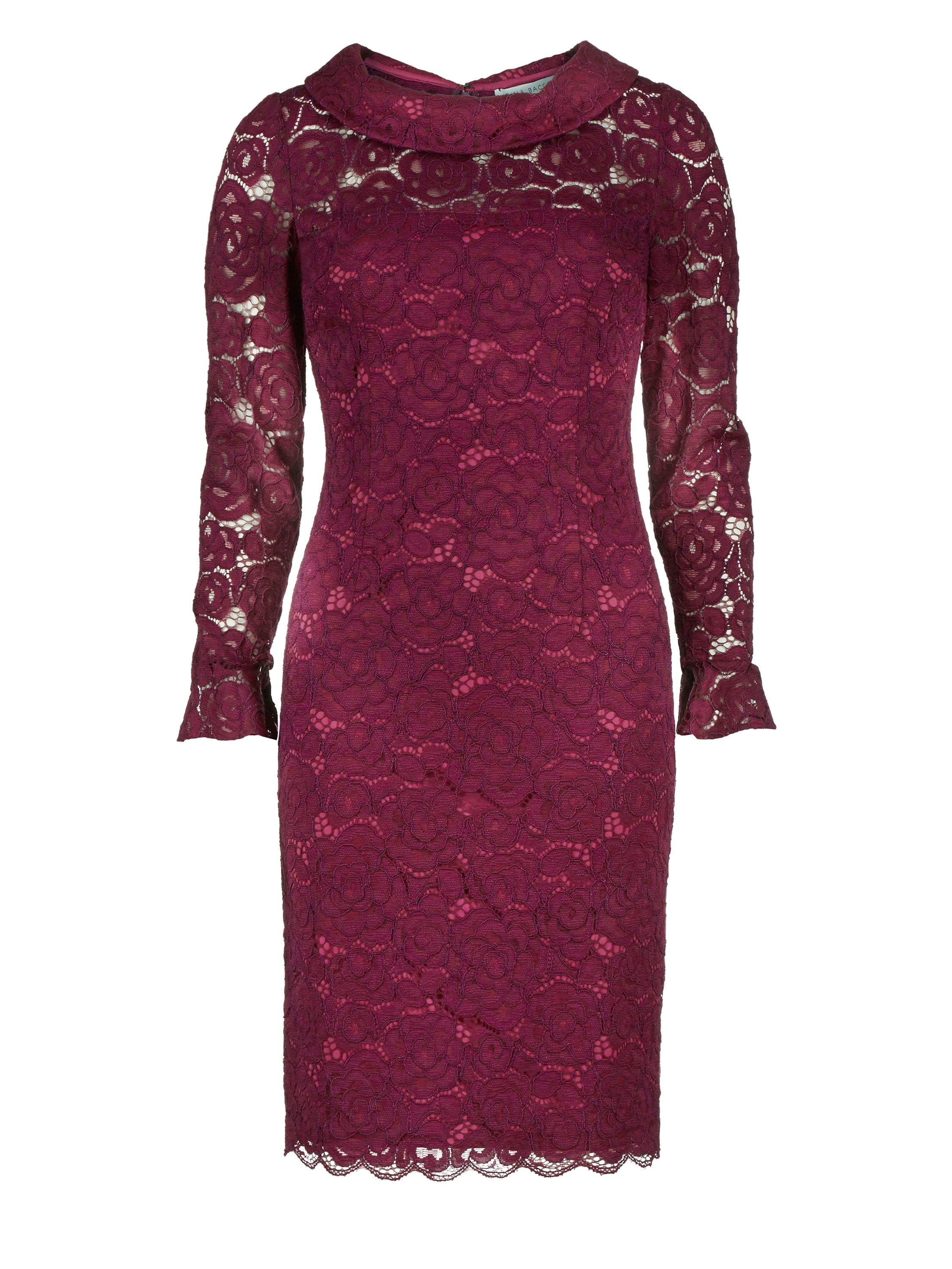 Gina Bacconi Dainty corded rose lace dress, Purple