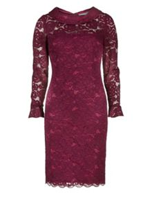 Gina Bacconi Dainty corded rose lace dress