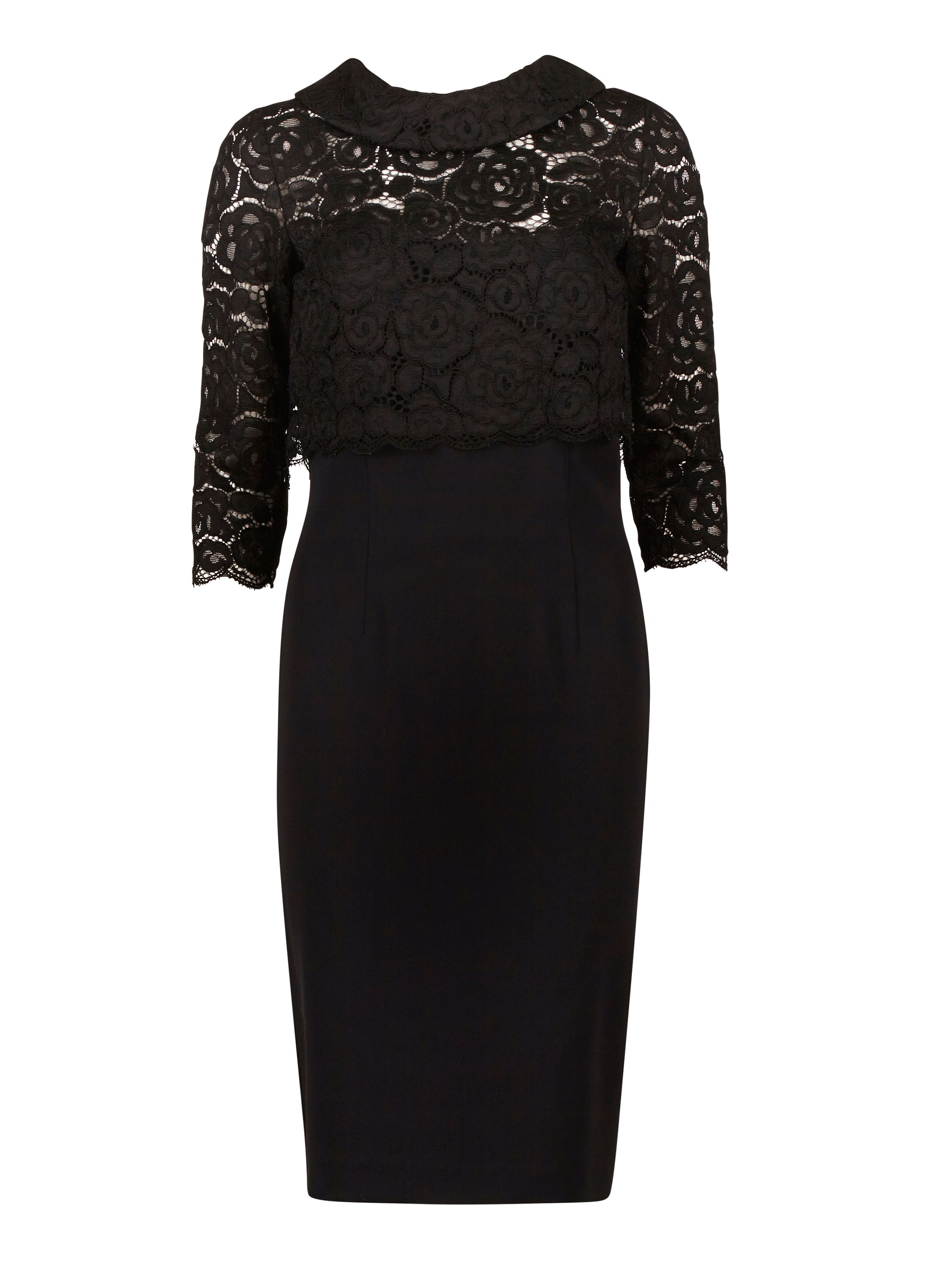 Gina Bacconi Moss Crepe Dress With Lace Overtop, Black