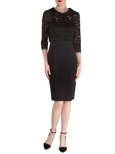 Gina Bacconi Moss Crepe Dress With Lace Overtop