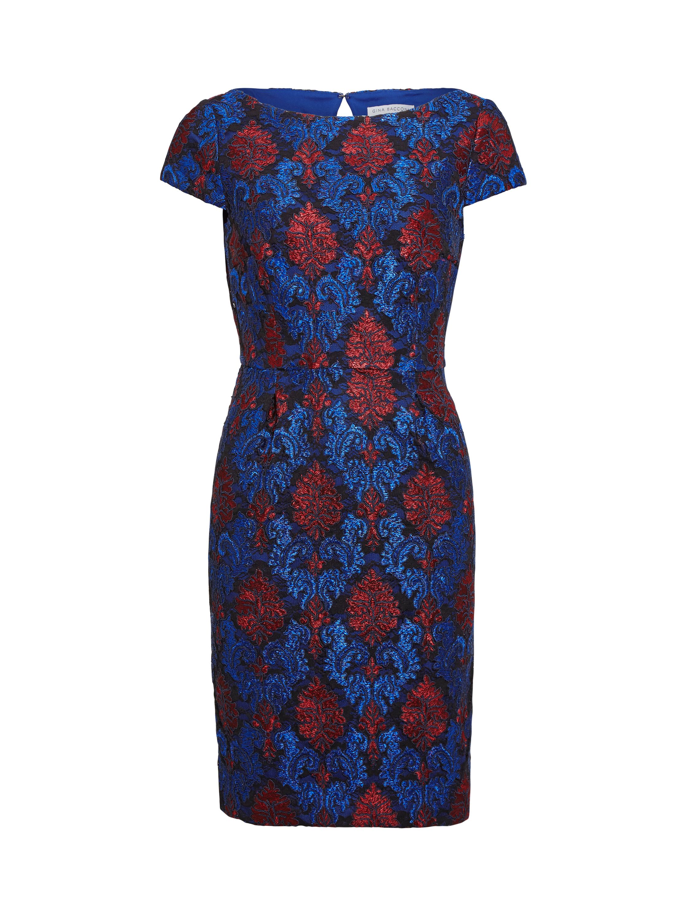 Gina Bacconi Corded Embroidery Lace Shift Dress, Blue