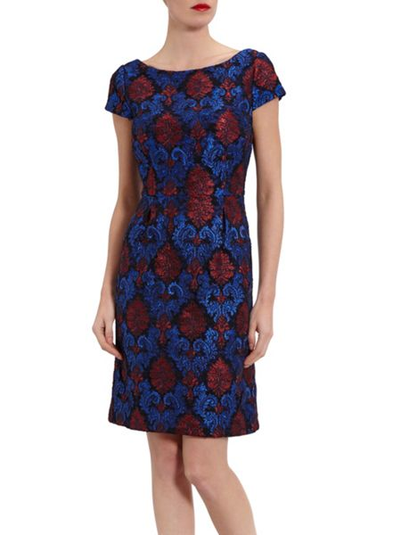 Gina Bacconi Corded Embroidery Lace Shift Dress