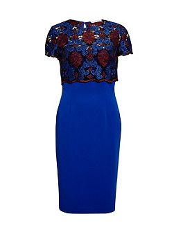 Corded embroidery lace overtop and dress
