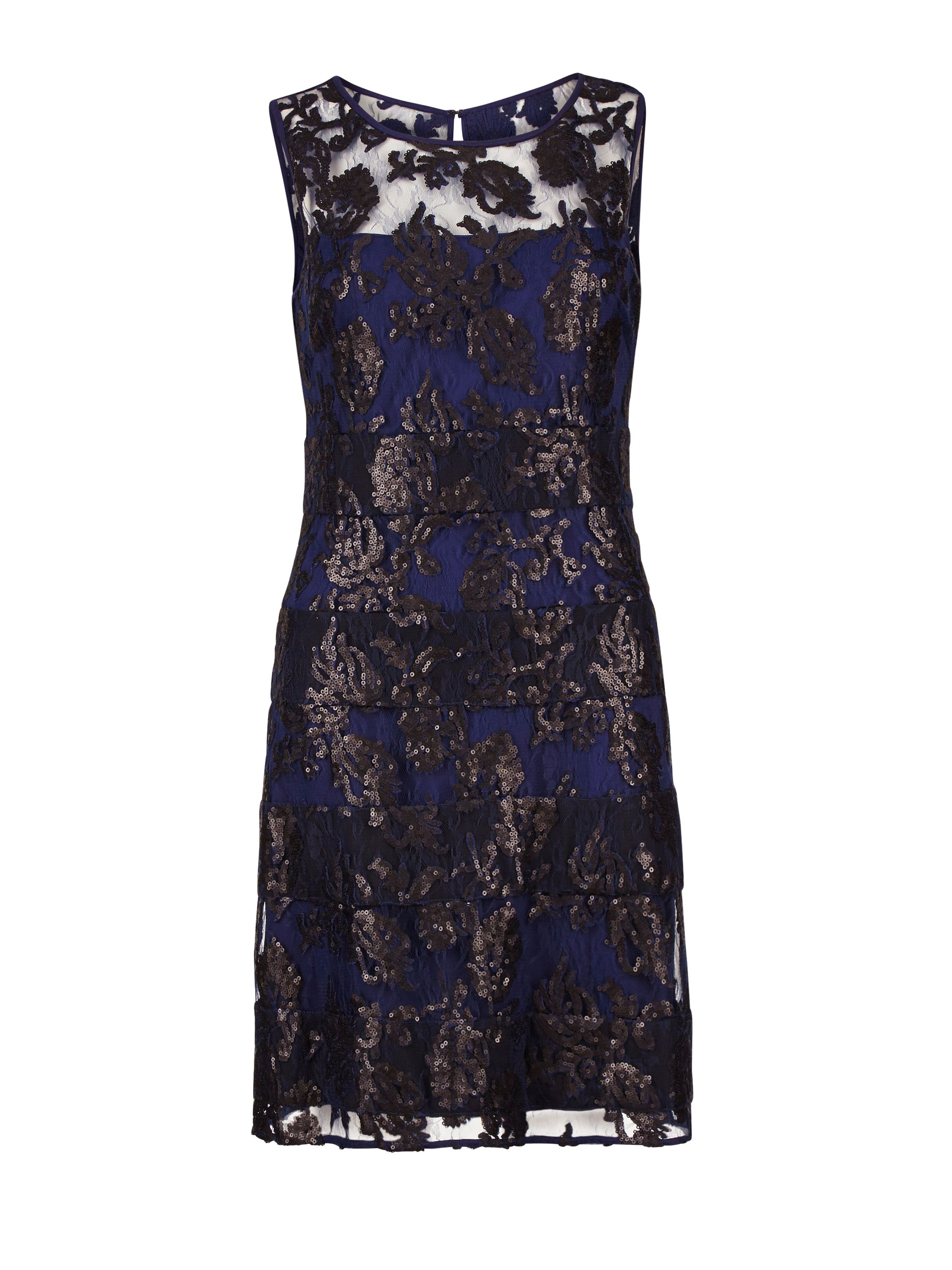Gina Bacconi Fancy sequin lace fit and flare dress, Blue