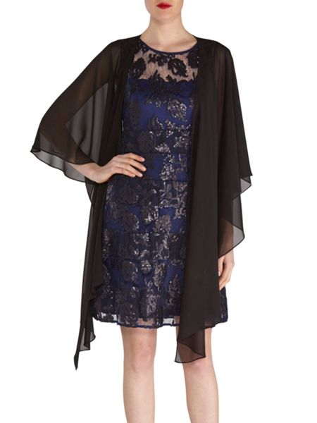 Gina Bacconi Fancy sequin lace fit and flare dress