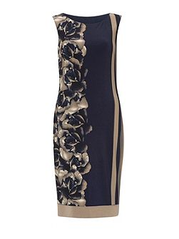 Navy Beige Stripe Rose Jersey Dress