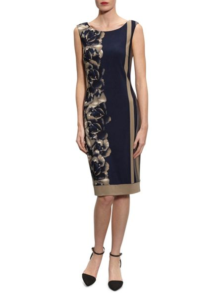 Gina Bacconi Navy Beige Stripe Rose Jersey Dress