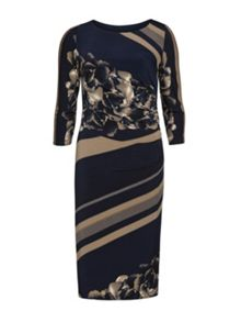 Gina Bacconi Navy beige stripe rose print dress