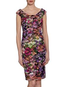 Gina Bacconi Stained Glass Stretch Lace Dress