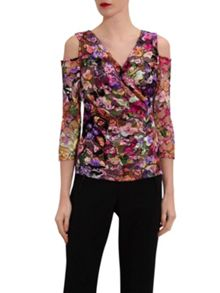 Gina Bacconi Cutout Shoulder Stained Glass Lace Top