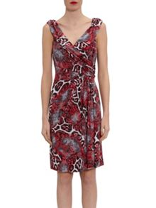 Gina Bacconi Red/Grey Animal Glimmer Jersey Dress