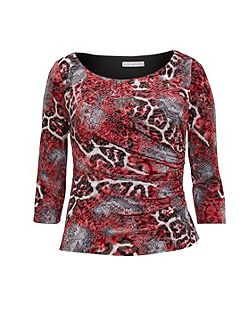 Red Grey Animal Glimmer Jersey Top
