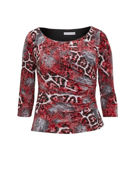 Gina Bacconi Red Grey Animal Glimmer Jersey Top