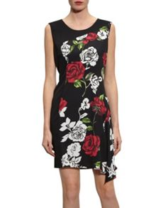 Gina Bacconi Moss Crepe Rose Georgette Dress