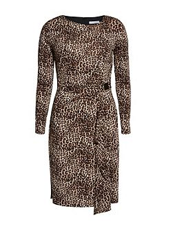 Leopard print slinky jersey dress