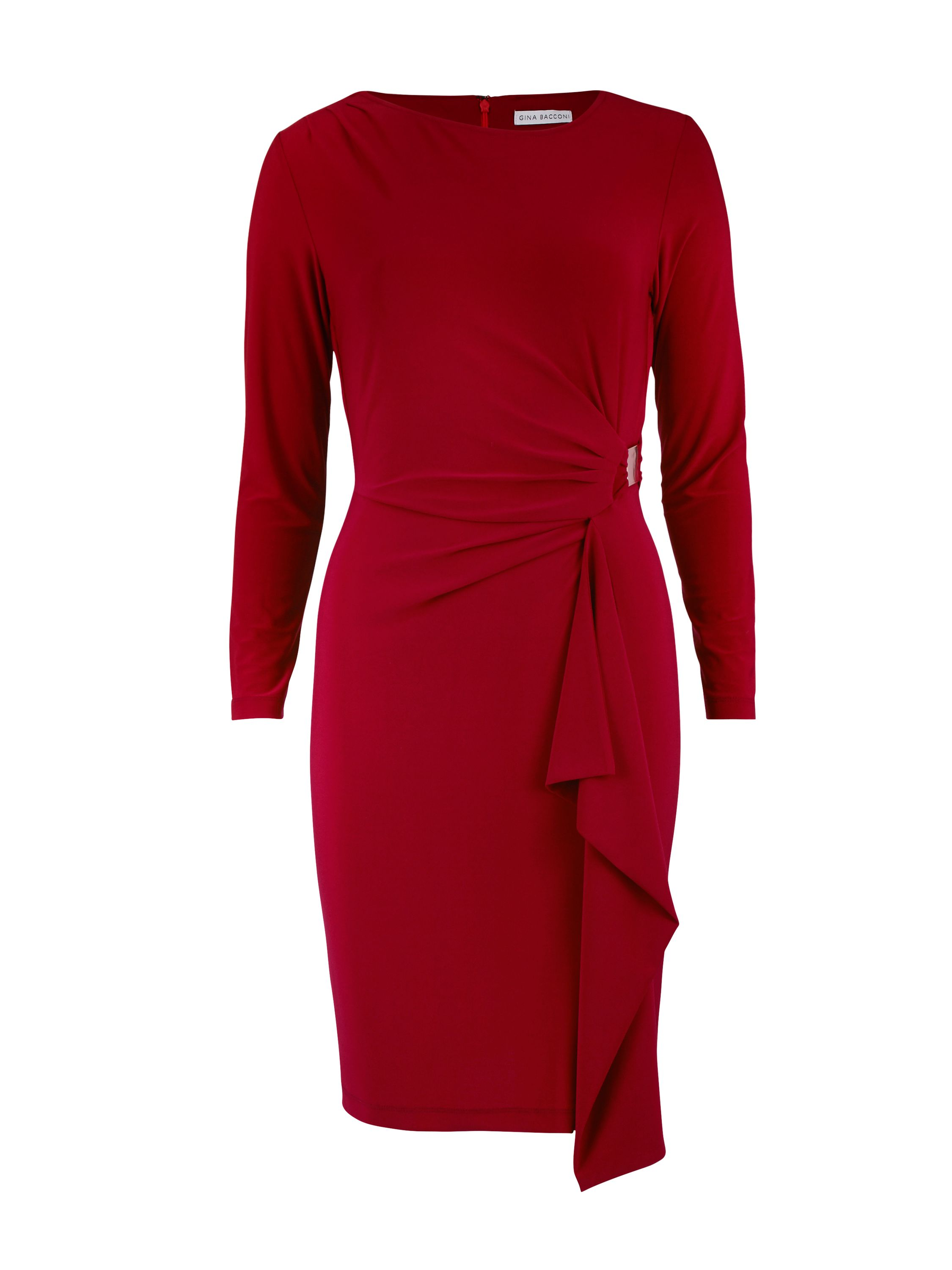 Gina Bacconi Gold Buckle Trim Jersey Dress, Red