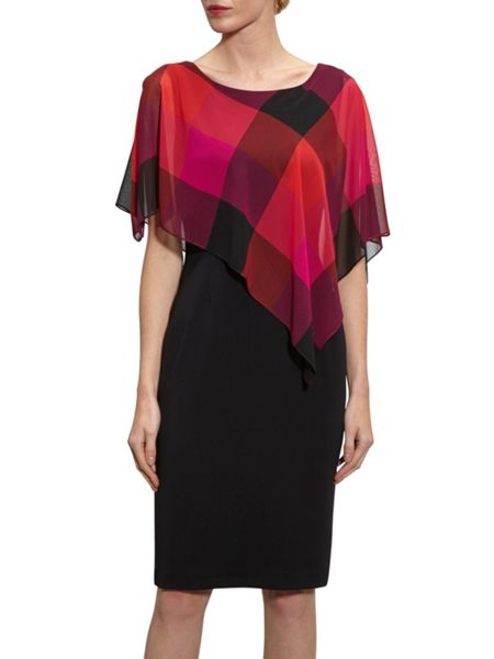 Gina Bacconi Bright Coloured Check Chiffon Cape Dress