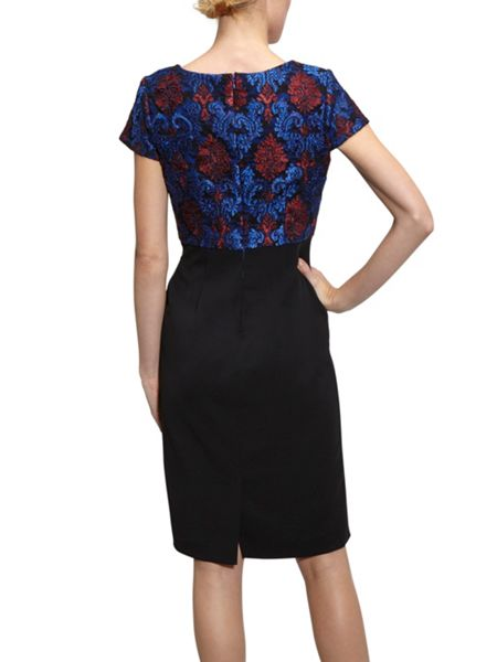 Gina Bacconi Crepe and corded embroidery lace dress