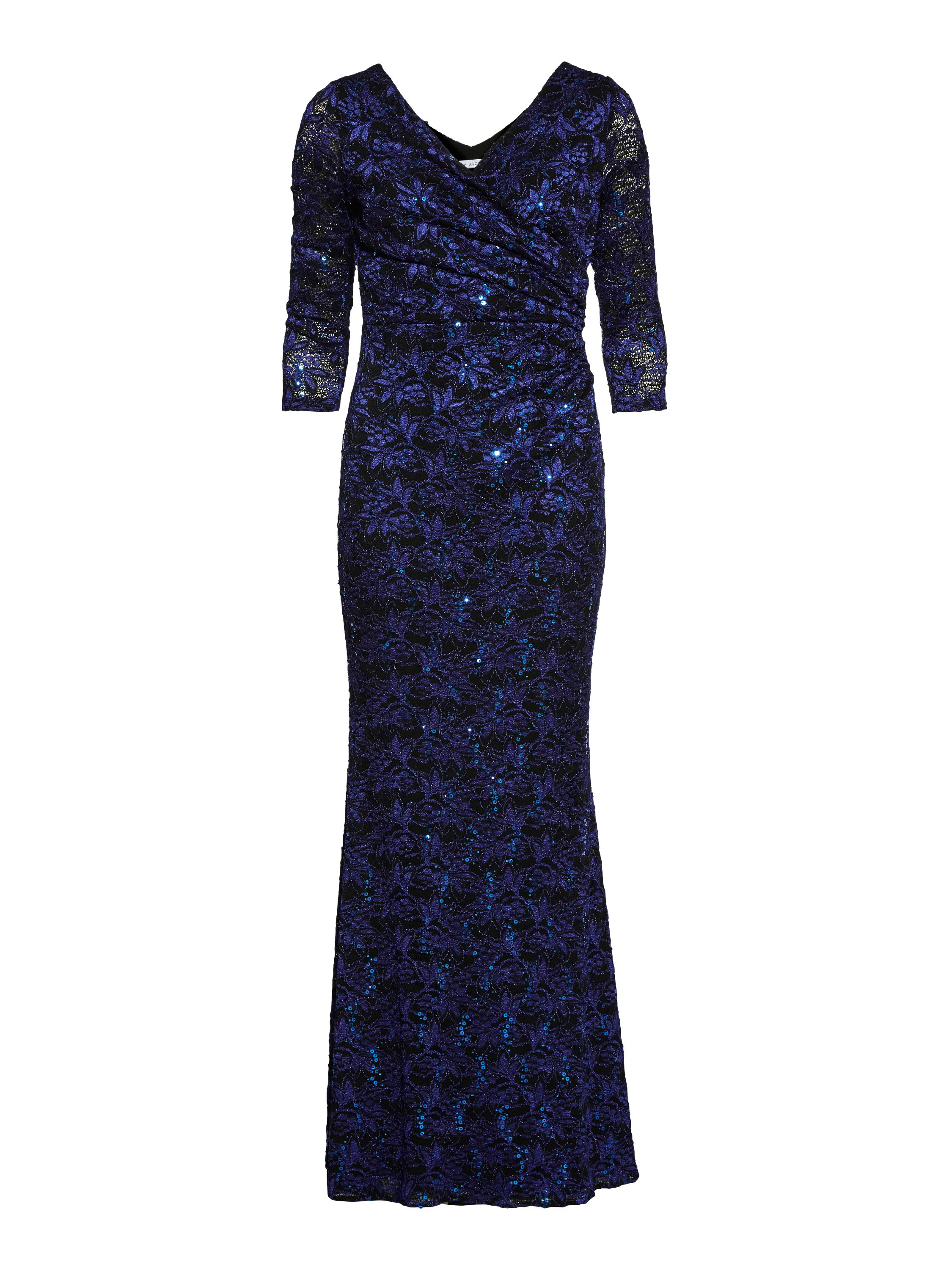 Gina Bacconi Royal Black Sequin Leaf Lace Maxi Dress, Blue