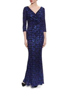 Gina Bacconi Royal Black Sequin Leaf Lace Maxi Dress