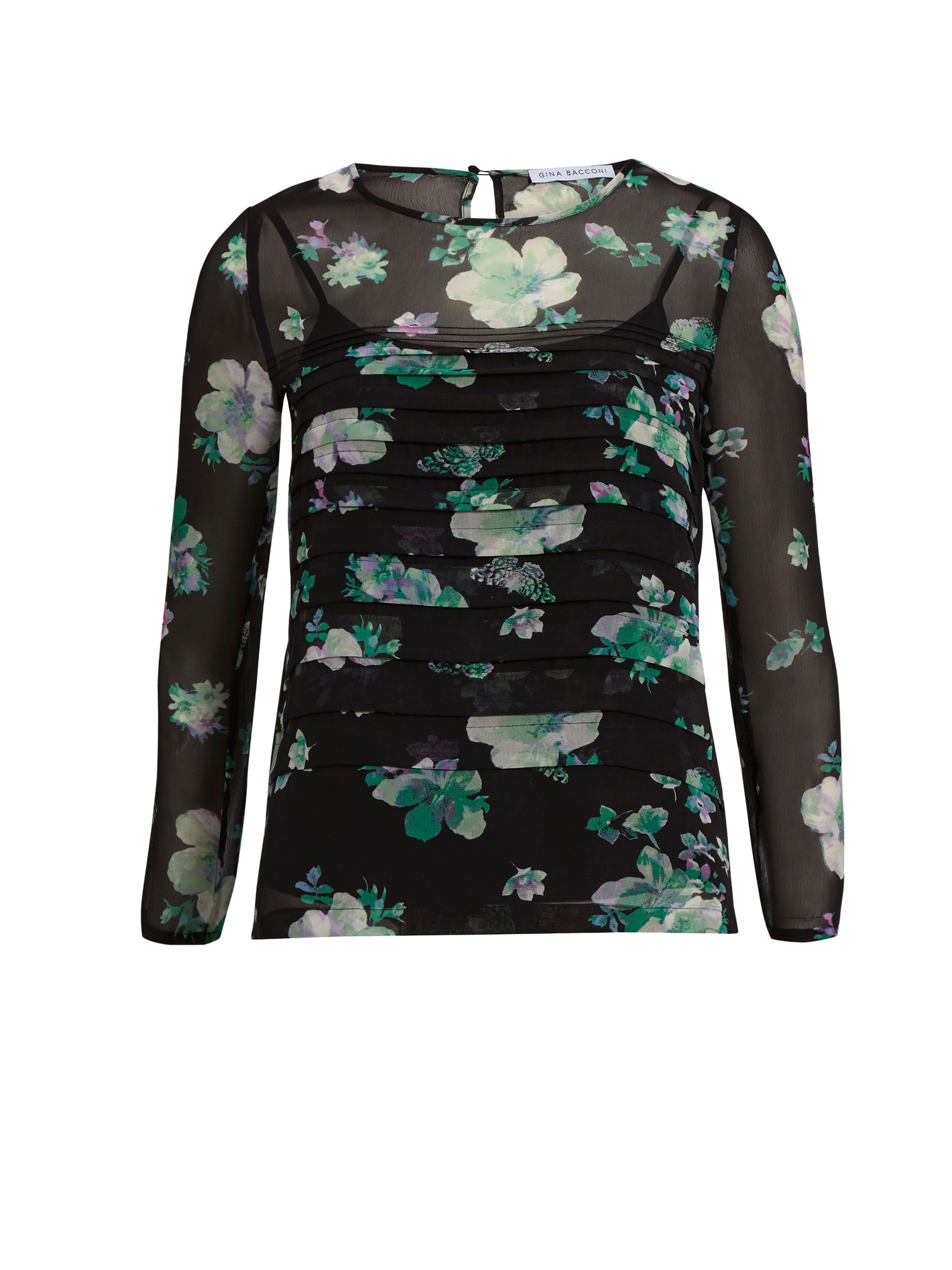 Gina Bacconi Green Floral Chiffon Pleated Top, Green