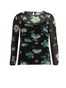 Green Floral Chiffon Pleated Top