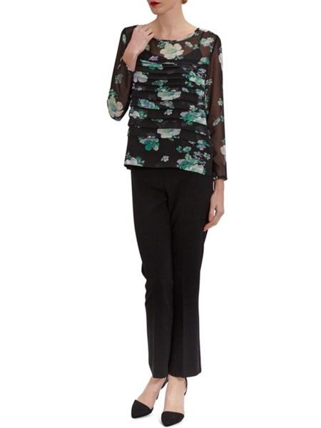 Gina Bacconi Green Floral Chiffon Pleated Top