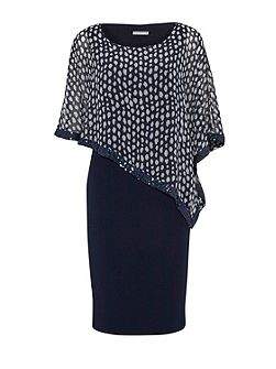 Dress with monotone print chiffon cape