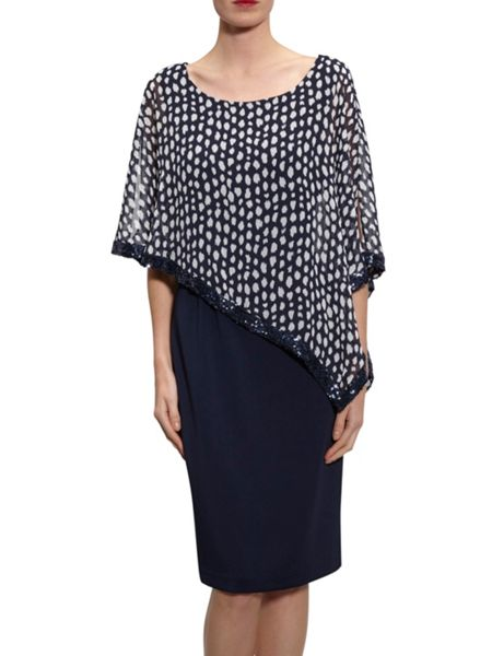 Gina Bacconi Dress with monotone print chiffon cape