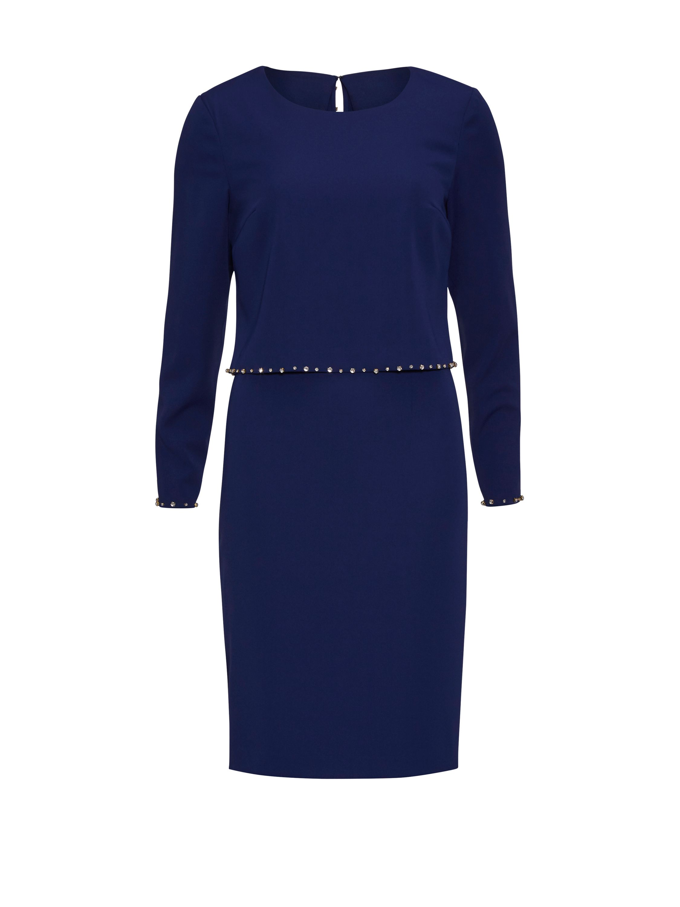 Gina Bacconi Crepe Dress And Beaded Edge Over Top, Blue