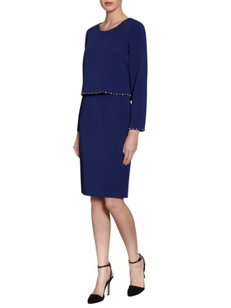 Gina Bacconi Crepe Dress And Beaded Edge Over Top