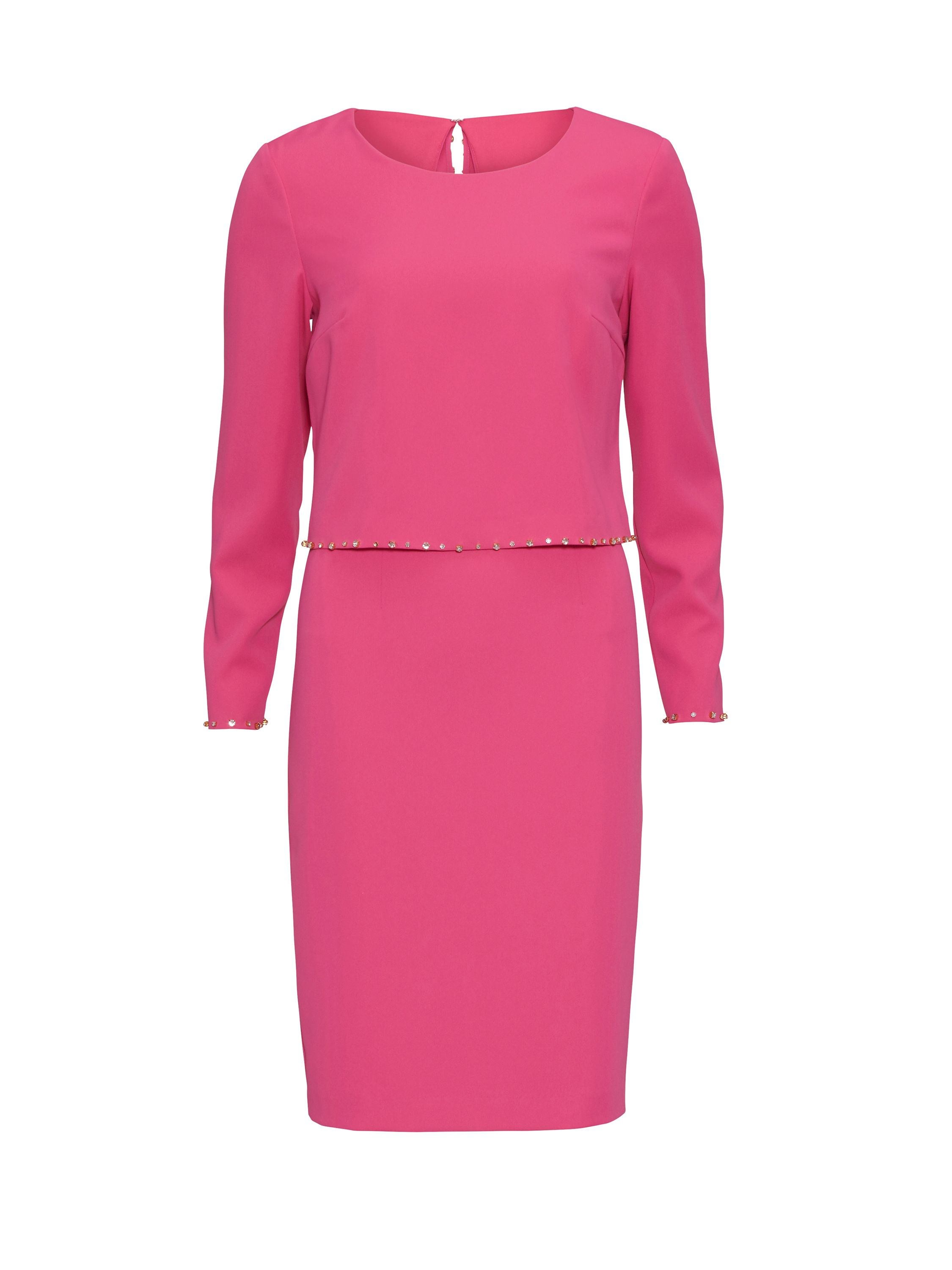 Gina Bacconi Crepe Dress And Beaded Edge Over Top, Pink