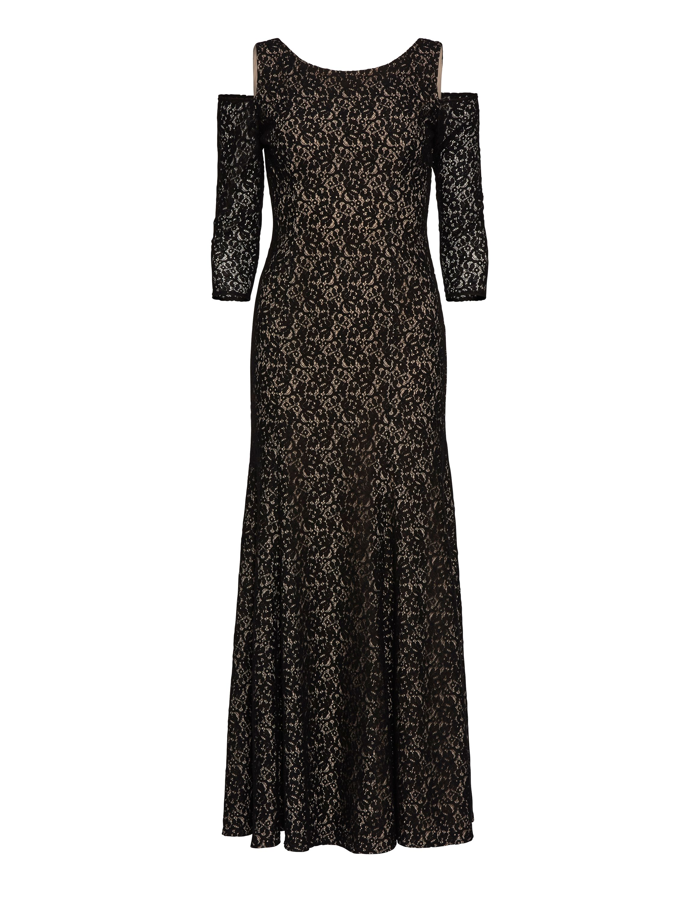 Gina Bacconi Lace Maxi Dress With Cutout Shoulder., Black