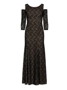 Gina Bacconi Lace Maxi Dress With Cutout Shoulder.
