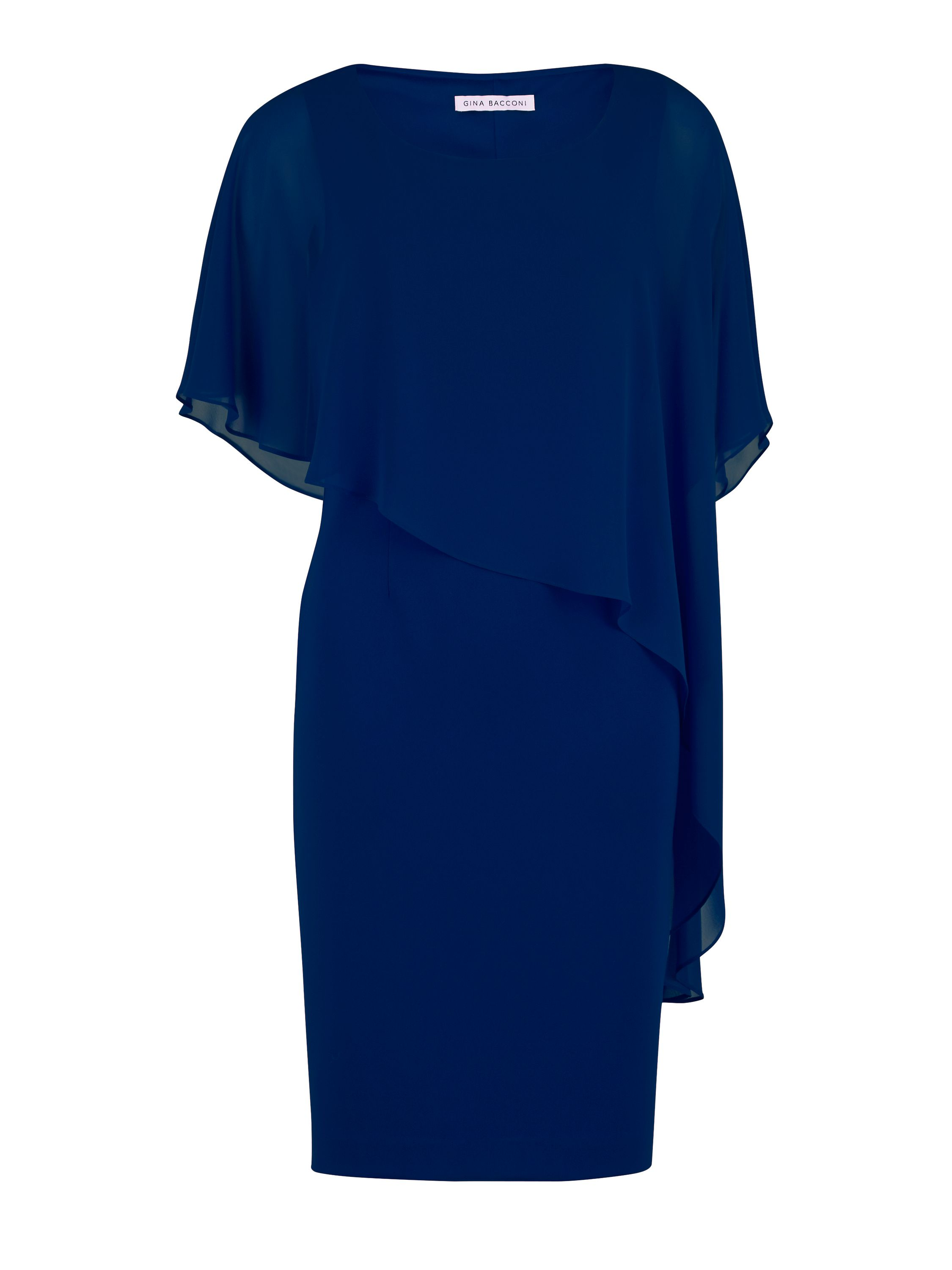 Gina Bacconi Moss Crepe Dress And Chiffon Cape, Blue