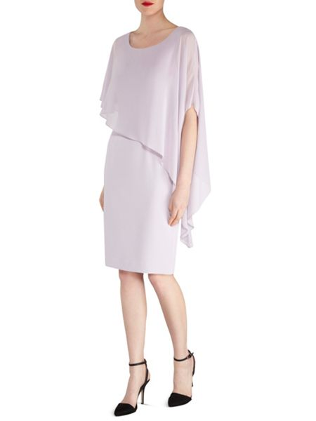 Gina Bacconi Moss Crepe Dress And Chiffon Cape