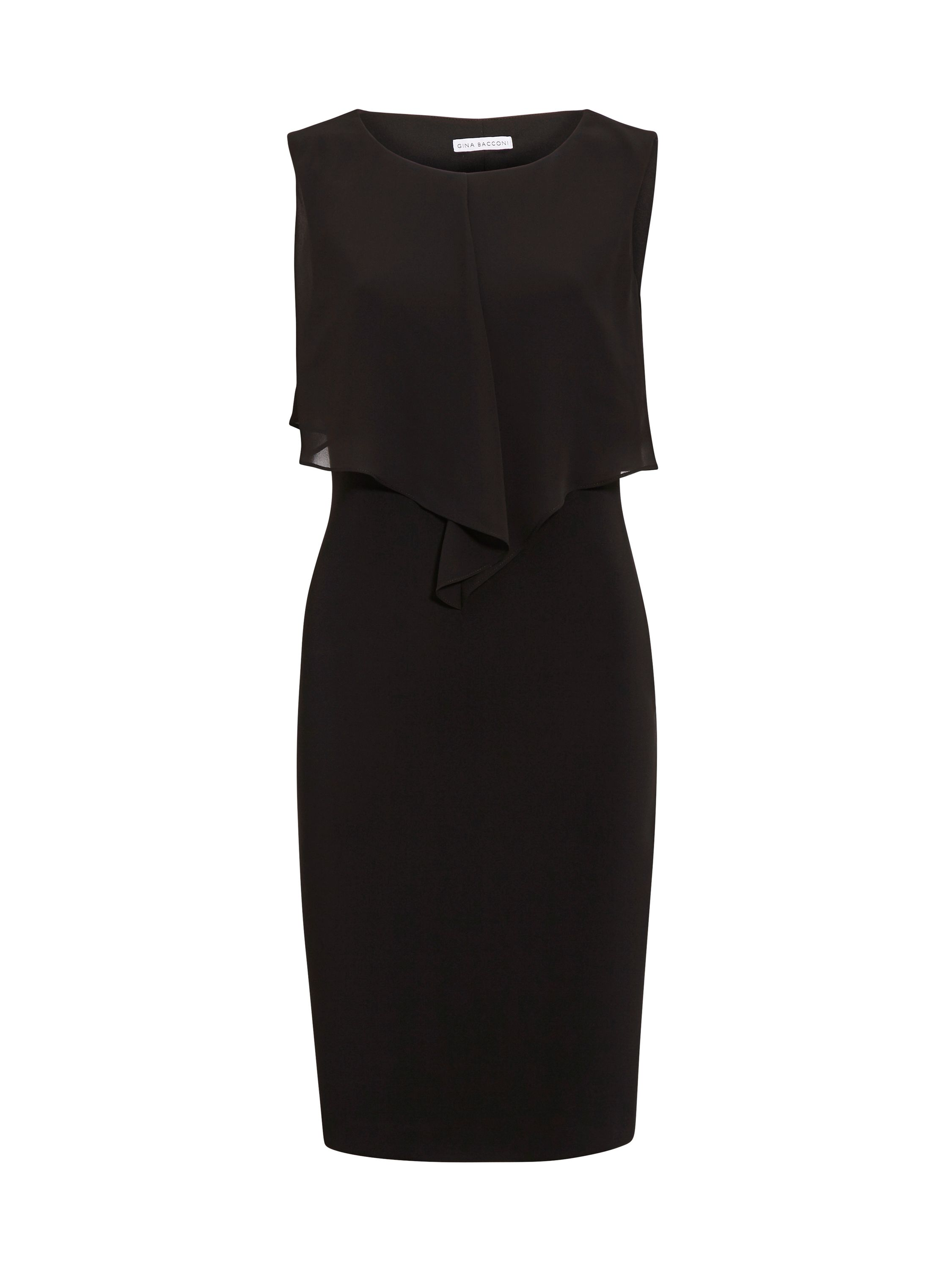 Gina Bacconi Moss crepe and chiffon dress, Black
