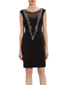 Gina Bacconi Dress With Beaded Front Panel