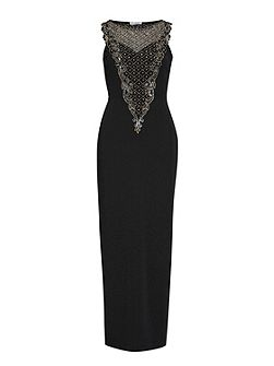 Maxi dress with beaded panels