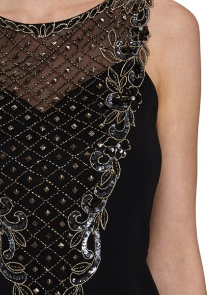Gina Bacconi Maxi dress with beaded panels